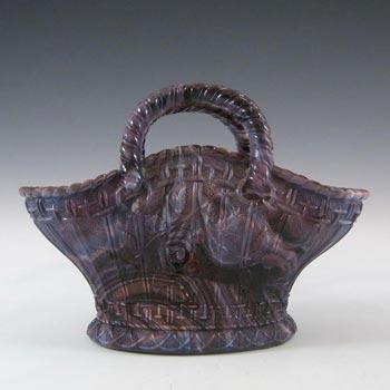 Davidson 1890's Purple Malachite/Slag Glass Basket Bowl #234