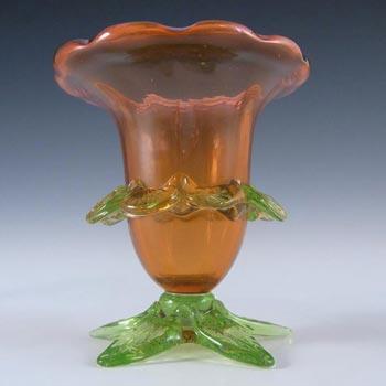 Victorian Cranberry Red + Uranium Green Glass Posy Vase