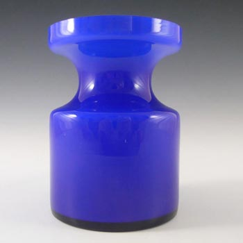 Alsterfors #S5014 Blue Cased Glass Vase Signed P. Strom '67