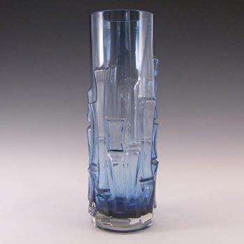 Aseda Swedish Blue Glass Bark Vase - Bo Borgstrom B5/832