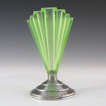 Bagley #334 Art Deco Uranium Green Glass & Chrome 'Grantham' Vase