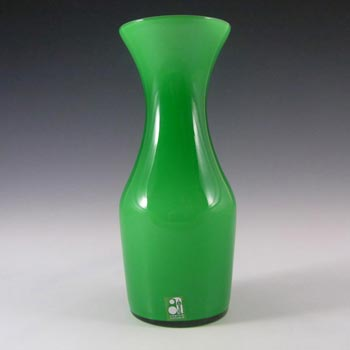 Alsterfors 1970's Scandinavian Green Cased Glass Vase - Labelled