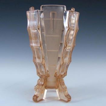 Bagley #3007 Art Deco Vintage Pink Glass 'Bamboo' Vase