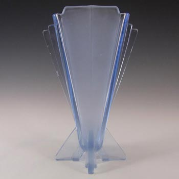 Stölzle #19249 Czech Art Deco 1930's Blue Glass Vase