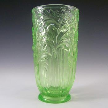 Jobling #11800 Uranium Green Art Deco Glass Celery Vase