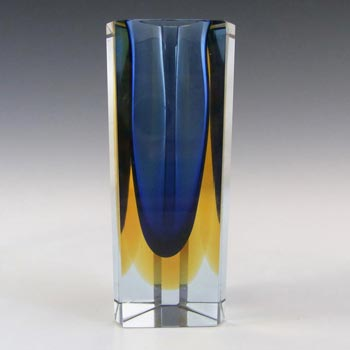 Murano Faceted Blue & Amber Sommerso Glass Block Vase