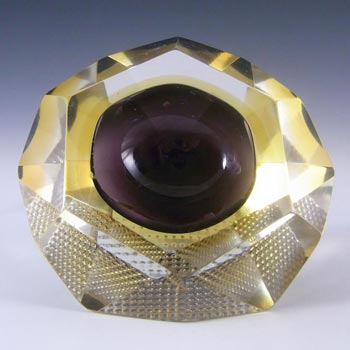 Murano Faceted Purple & Amber Sommerso Glass Block Bowl