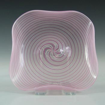 Murano 1950's Pink & White Filigree Glass Bowl