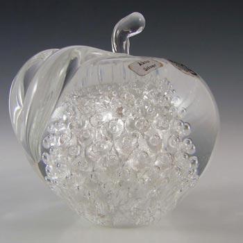 FM Konstglas/Ronneby Swedish Silver Leaf Glass Apple - Label