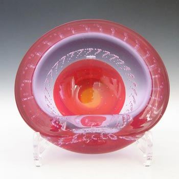 Galliano Ferro Murano Bullicante Red & Lilac Neodymium Glass Bowl