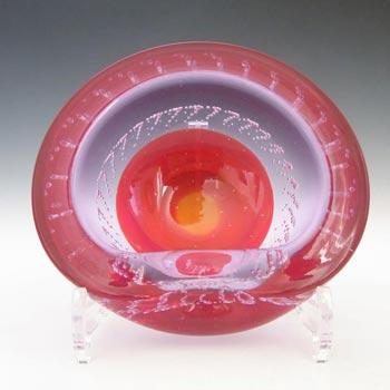 Galliano Ferro Murano Bullicante Red & Lilac Neodymium Glass Bowl