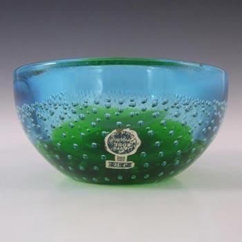 Galliano Ferro Murano Bullicante Green & Blue Glass Bowl