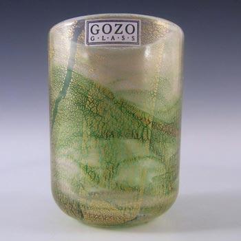Gozo Maltese Green Gold Leaf Glass 'Verdi' Vase - Signed