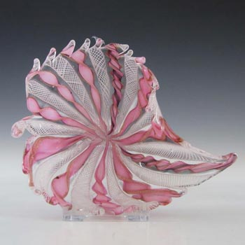 Murano Zanfirico & Copper Aventurine Glass Dish/Bowl