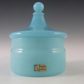 Lindshammar Swedish Blue Glass Bowl by Gunnar Ander - Label