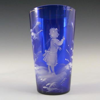Mary Gregory Bohemian Hand Enamelled Blue Glass Tumbler