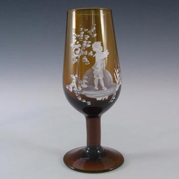 Mary Gregory Bohemian Hand Enamelled Amber Glass Goblet