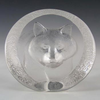 Mats Jonasson #3334 Glass Raccoon Paperweight - Signed