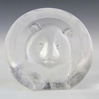 SIGNED Mats Jonasson Vintage Glass Bear Paperweight - Label