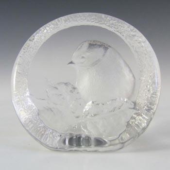 Mats Jonasson #9204 Glass Blue Tit Bird Paperweight - Signed