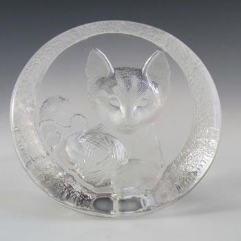 Mats Jonasson #3333 Glass Kitten/Cat Paperweight - Signed