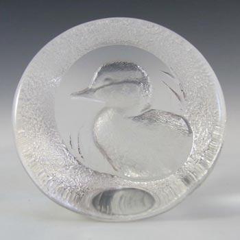 Mats Jonasson Swedish Glass Duck Paperweight - Marked