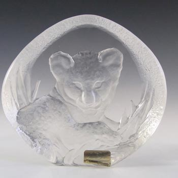 Mats Jonasson #3376 Glass Lion Cub Paperweight - Signed