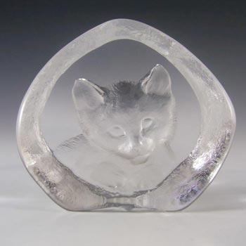 Mats Jonasson #3929 Glass Cat/Kitten Paperweight - Signed