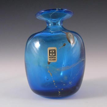 Mdina Maltese Blue & Yellow Glass Vase - Signed & Label