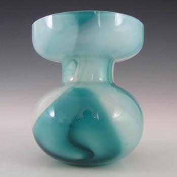 Carlo Moretti Marbled Turquoise & White Murano Glass Vase