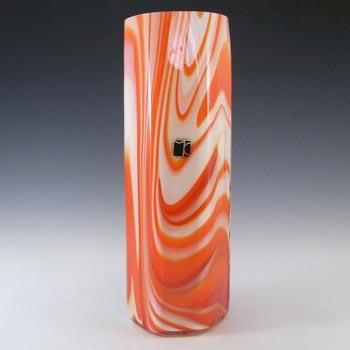 Carlo Moretti Marbled Red & White Murano Glass Vase - Label