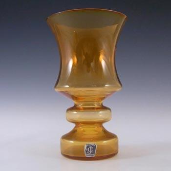 JC 1970's Scandinavian Orange Glass Hooped Vase