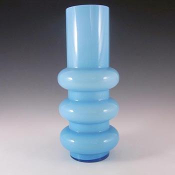 Ryd Glasbruk Swedish / Scandinavian Blue Glass Hooped Vase