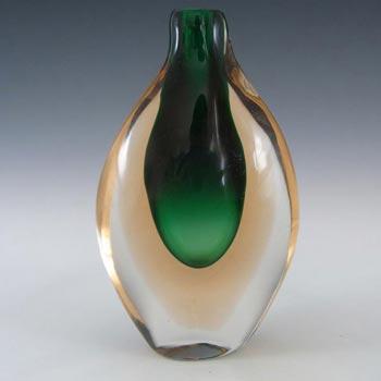 Murano/Venetian Green & Peach Sommerso Glass Vase