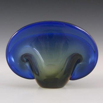 Seguso Dalla Venezia Murano Blue Glass Clam Bowl/Vase