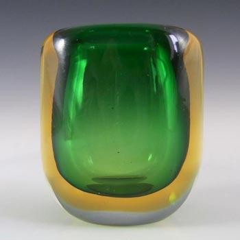 Murano/Venetian Green & Amber Sommerso Glass Vase