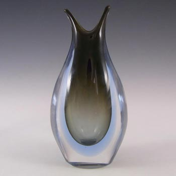 Murano/Venetian Grey & Blue Sommerso Glass Vase