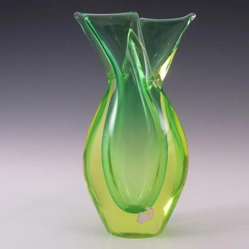 Murano/Venetian Green & Uranium Green Sommerso Glass Vase
