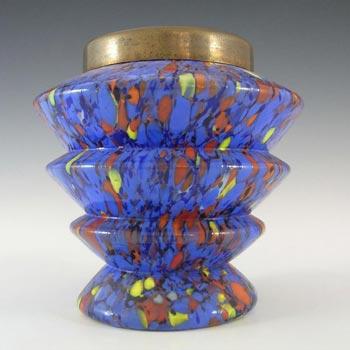 Kralik Czech Art Deco Blue Spatter Glass Posy Vase