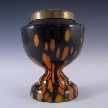 Czech 1930's Black & Orange Spatter/Splatter Glass Vase