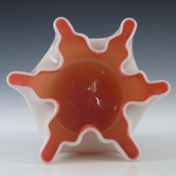Welz Victorian Uranium Custard Glass Pink & Ivory Cased Bowl