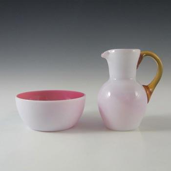 Victorian Opaque Custard Glass Pink & Ivory Creamer & Sugar Bowl