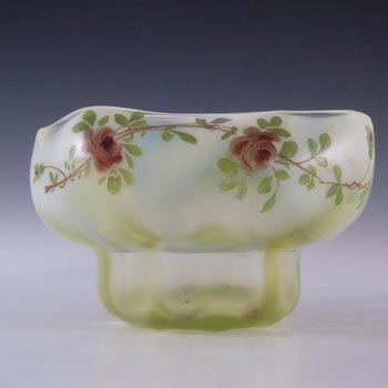 Victorian Vaseline/Uranium Enamelled Green Glass Bowl