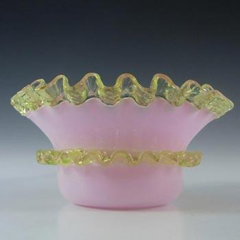 Victorian 1890's Pink & Uranium Green Glass Bowl