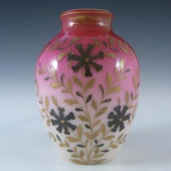 Victorian Burmese Uranium Pink Glass Enamelled Vase