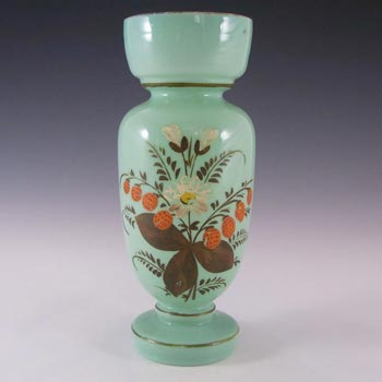 Victorian Hand Painted/Enamelled Opaque Glass Vase