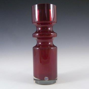 Alsterfors #S5000 Per Strom Red Cased Glass Hooped Vase