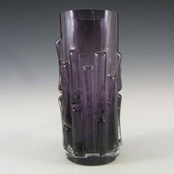 Aseda Swedish Purple Glass Bark Vase - Bo Borgstrom B5/830