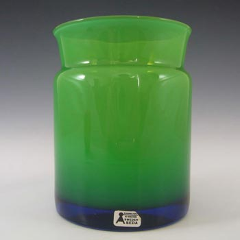Aseda Swedish Green Cased Glass Vase #9/321 - Labelled