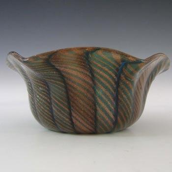 Salviati Murano Aventurine Green Glass Bowl